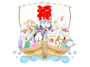 宝船に乗った七福神のイラスト